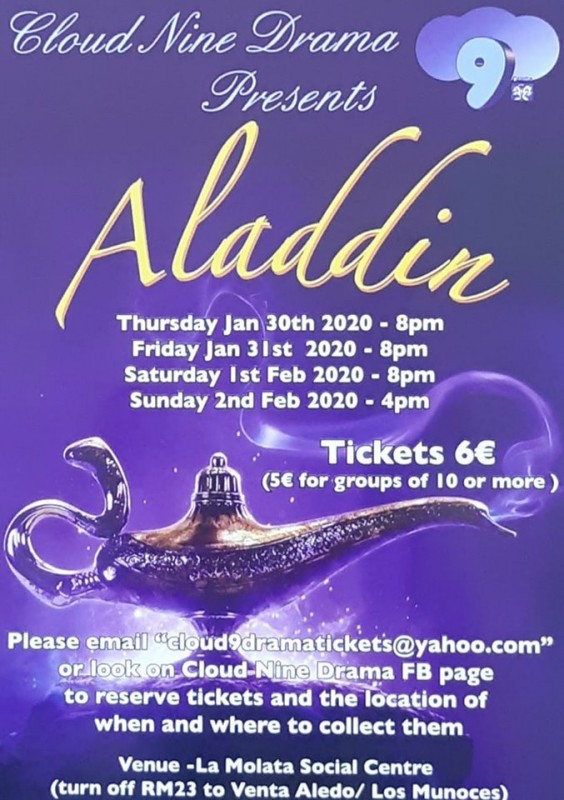 <span style='color:#780948'>ARCHIVED</span> - Tickets go on sale Thursday for the annual Cloud Nine pantomime; Aladdin