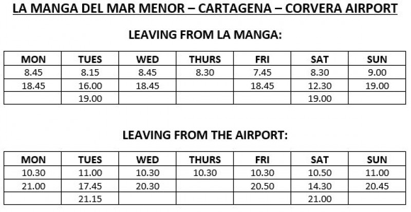 Public bus routes and timetables to and from the Region of Murcia International Airport in Corvera, winter 2019-20