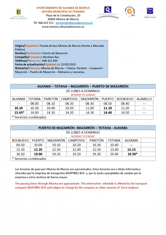 <span style='color:#780948'>ARCHIVED</span> - Updated bus timetable forAlhama, Totana, Mazarron, Puerto de Mazarron May 2020