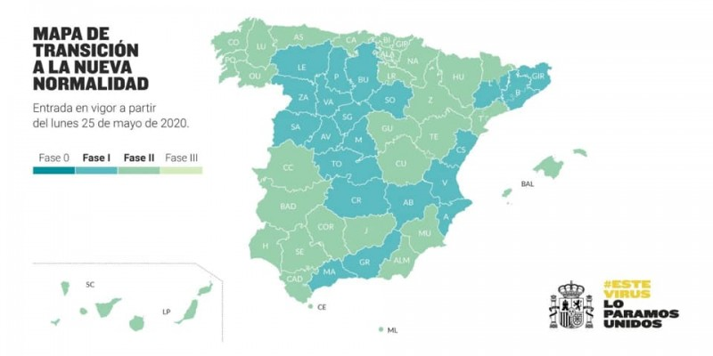 The Region of Murcia will move into phase 2 de-escalation on Monday 25th May