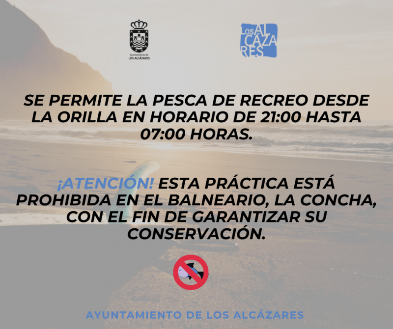 Fishing permitted on Los Alcázares beaches in the evenings and overnight