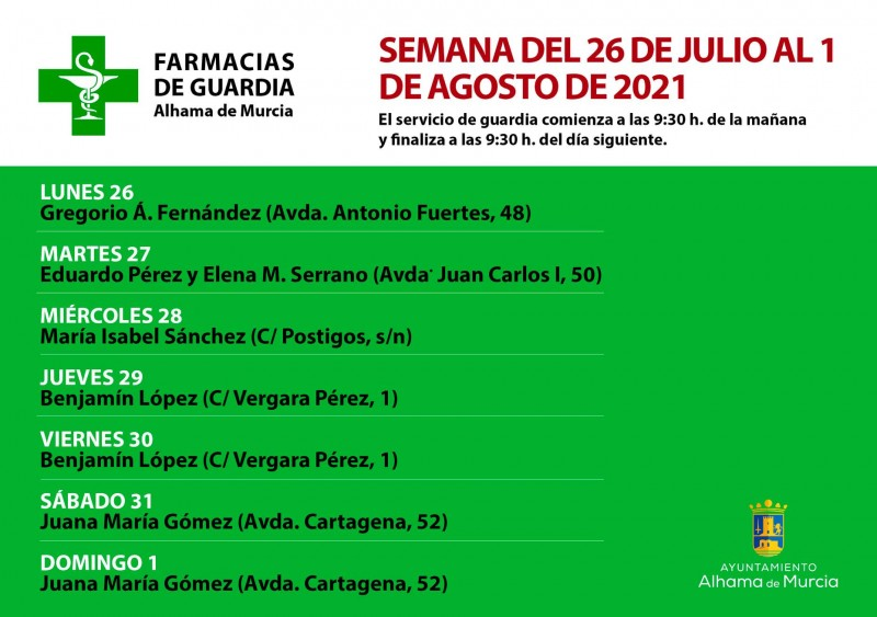 <span style='color:#780948'>ARCHIVED</span> - 24-hour pharmacy rota Alhama de Murcia July 26 to August 1