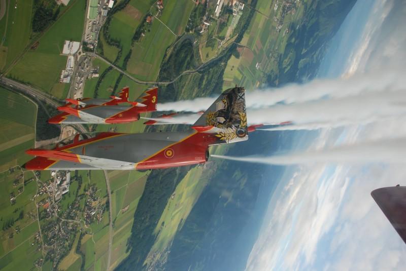 The Patrulla Aguila, the Spanish Air Force aerobatics display team based in San Javier